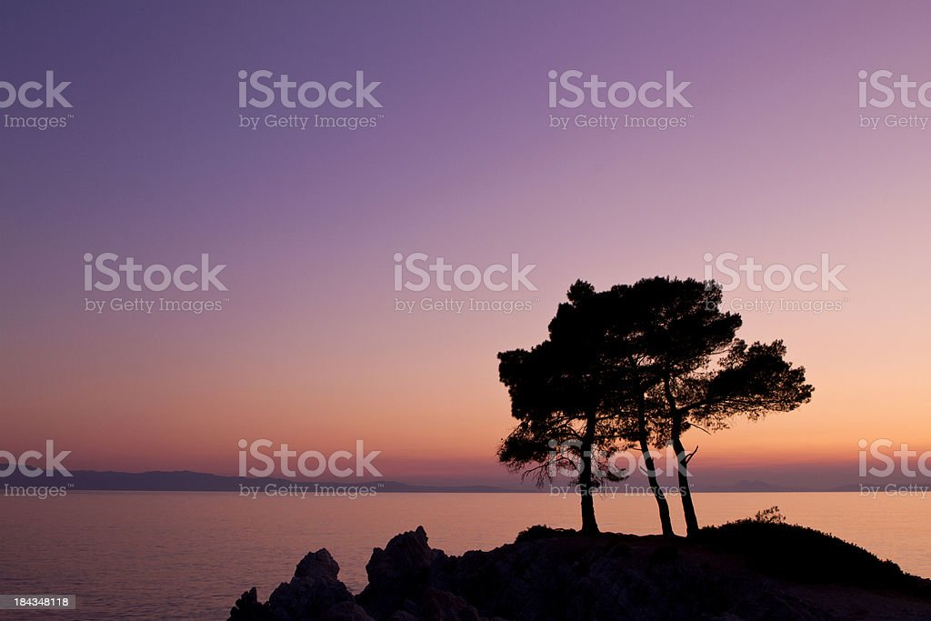 Dramatic sunset on a coastline in Greece royalty-free stock photo