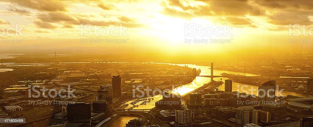 Dramatic sunset on a modern metropolis royalty-free stock photo