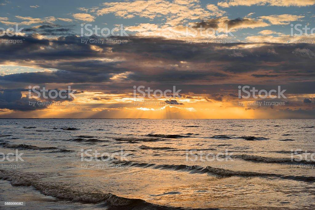 dramatic sunset on baltic sea stock photo