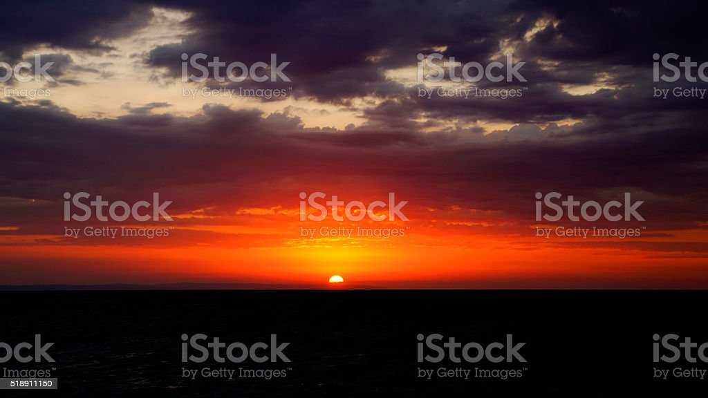 Dramatic sunset on the sea, Haiti stock photo