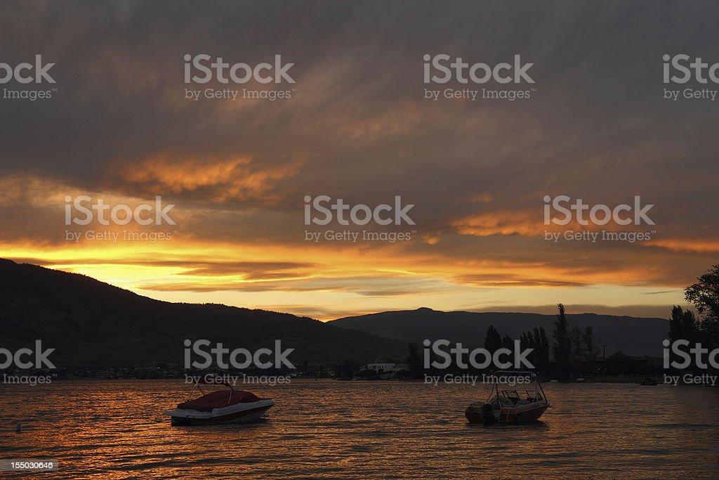 Dramatic Sunset, Osoyoos Lake royalty-free stock photo