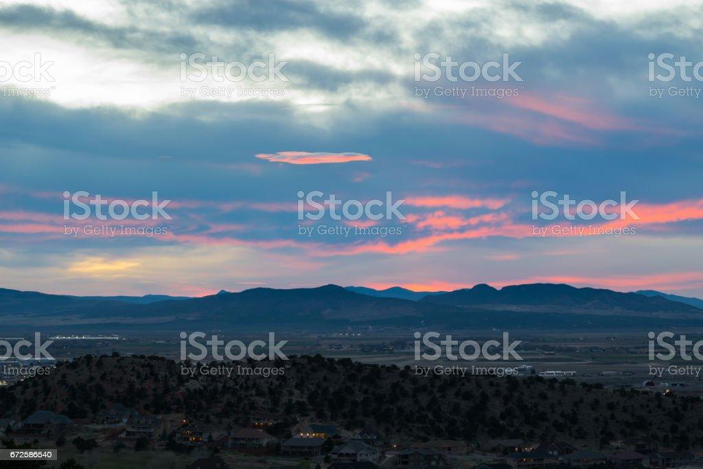 Dramatic Sunset over Cedar City, Utah, USA, North America stock photo