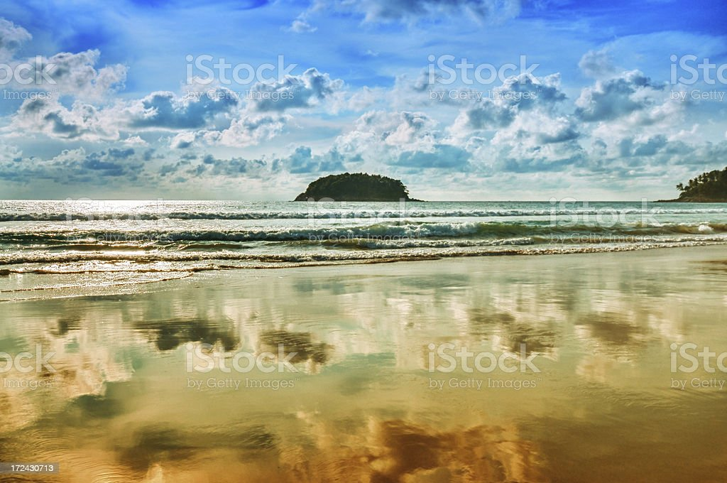 Dramatic Sunset over Empty Tropical Beach royalty-free stock photo