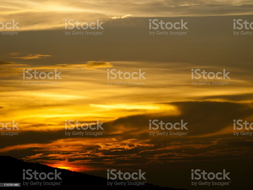 Dramatic Sunset Over Hill, Aizawl (India) royalty-free stock photo