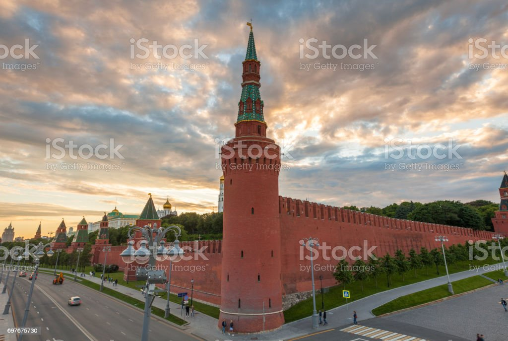 Dramatic sunset over Moscow Kremlin, Russia stock photo