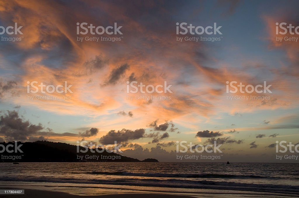Dramatic Sunset Over Patong Beach In Phuket, Thailand royalty-free stock photo