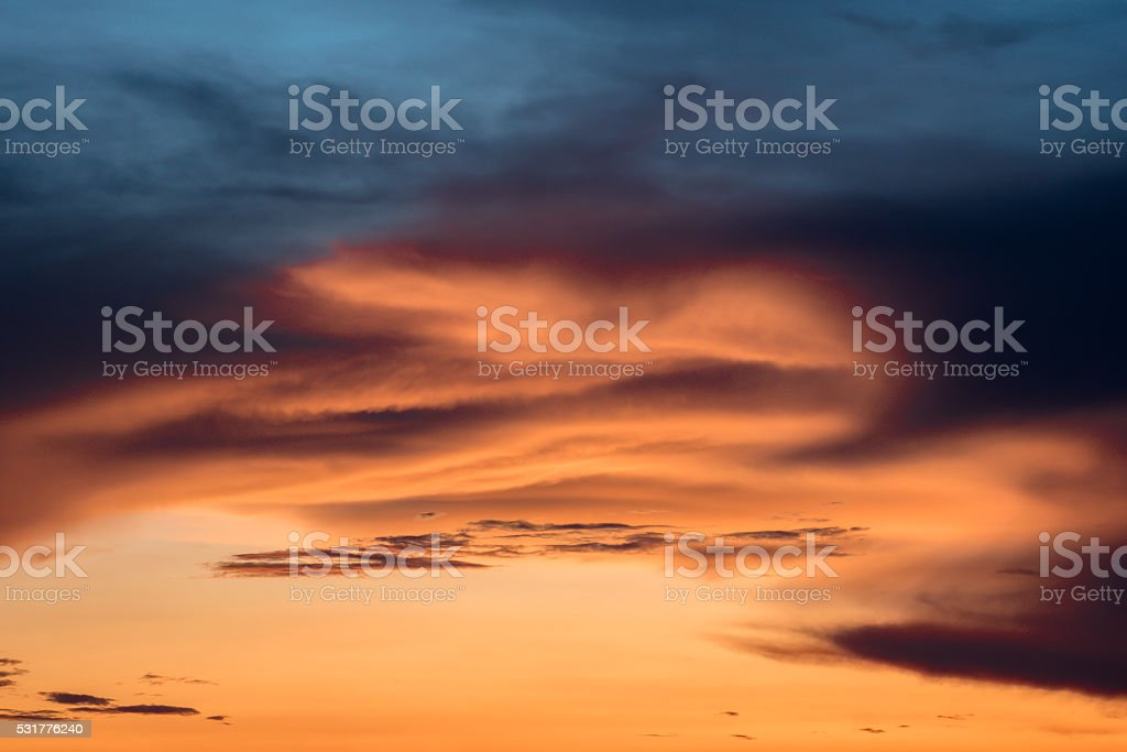 Dramatic sunset over the sea, Colorful clouds at twilight stock photo