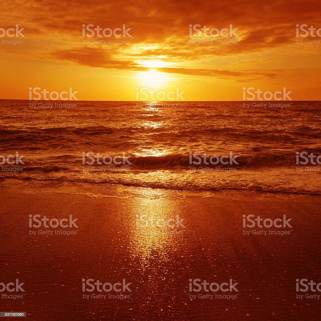 Dramatic sunset over the sea. stock photo