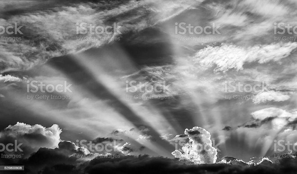 B&W Dramatic Sunset stock photo
