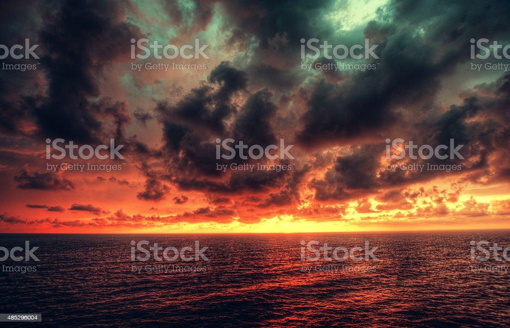 Dramatic sunset stock stock photo