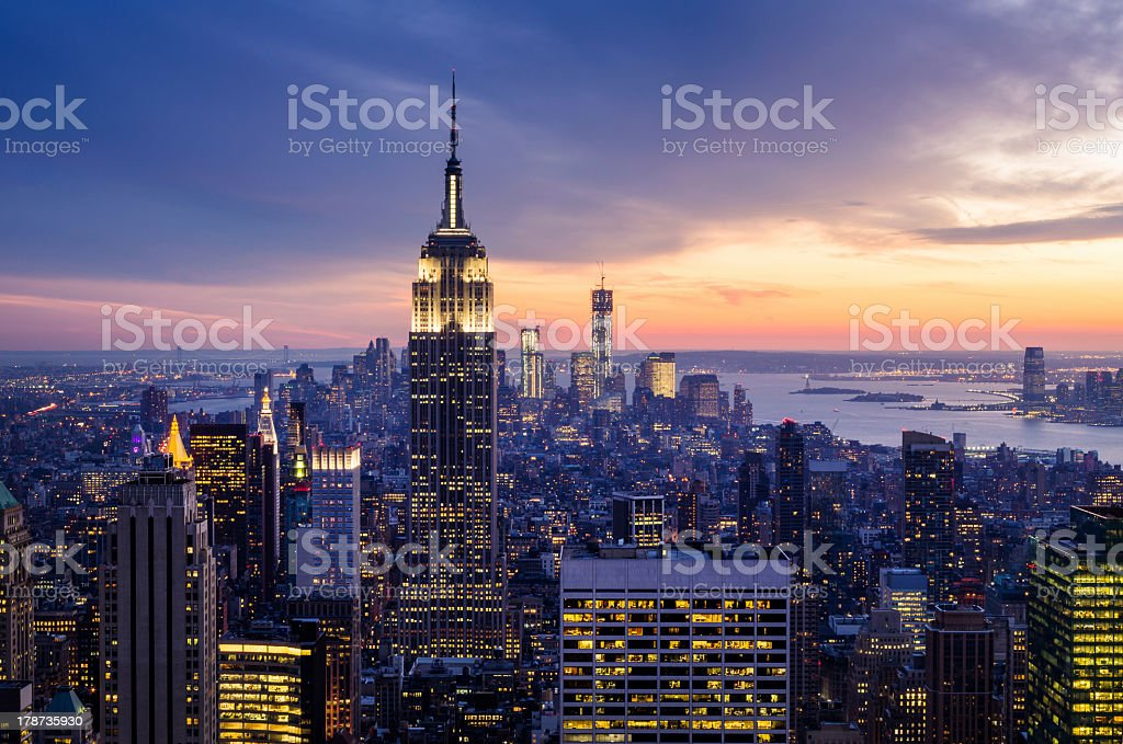 Dramatic sunset view highlighting the Empire State Building stock photo