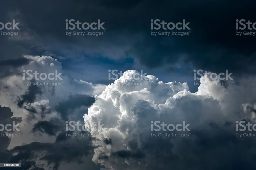 Dramatic Thunder Cloudscape after Summer Heat stock photo