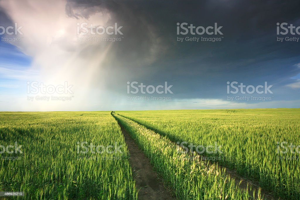 Dramatic Thunderstorm in the Midwest Prairie stock photo