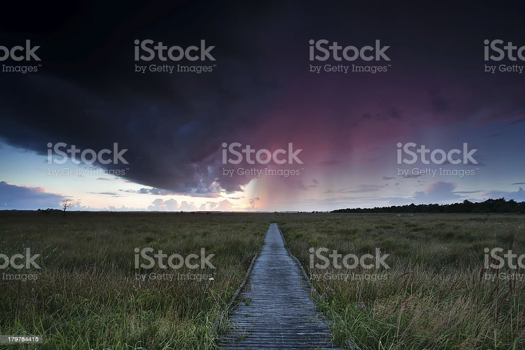 dramatic thunderstorm over path through swamps royalty-free stock photo