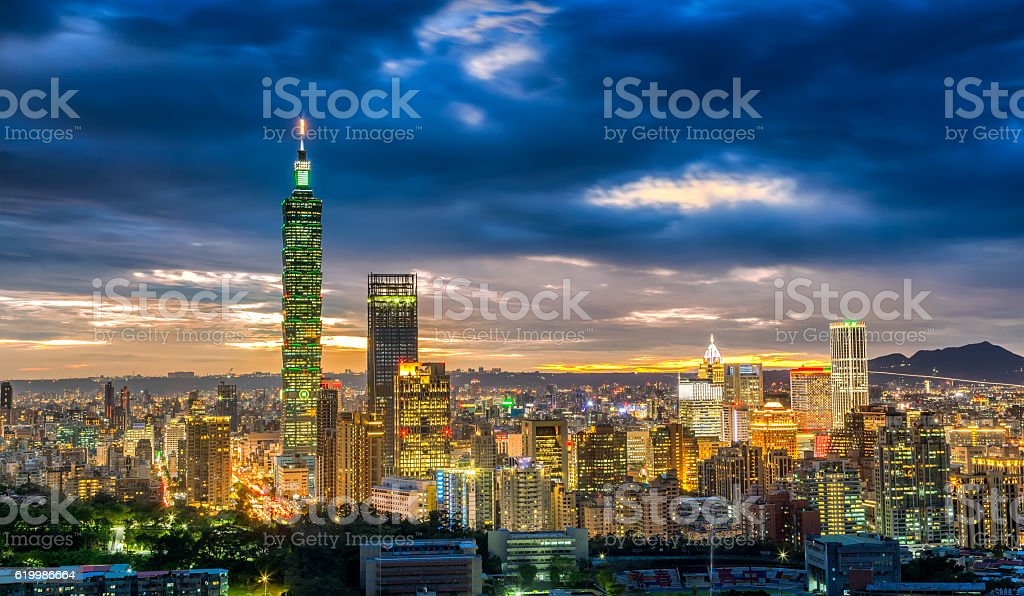 Dramatic urban cityscape of Taipei in sunset in Taiwan stock photo