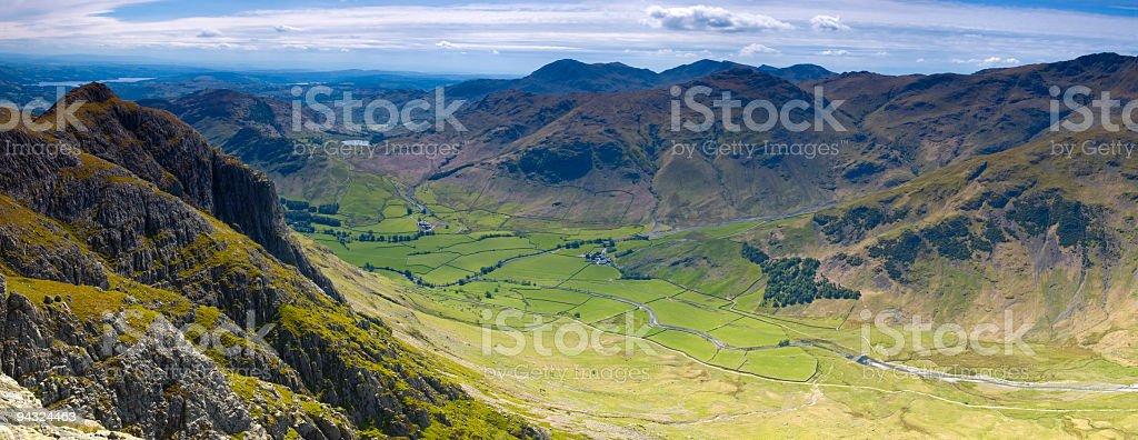 Dramatic valley vista, Lake District, UK stock photo