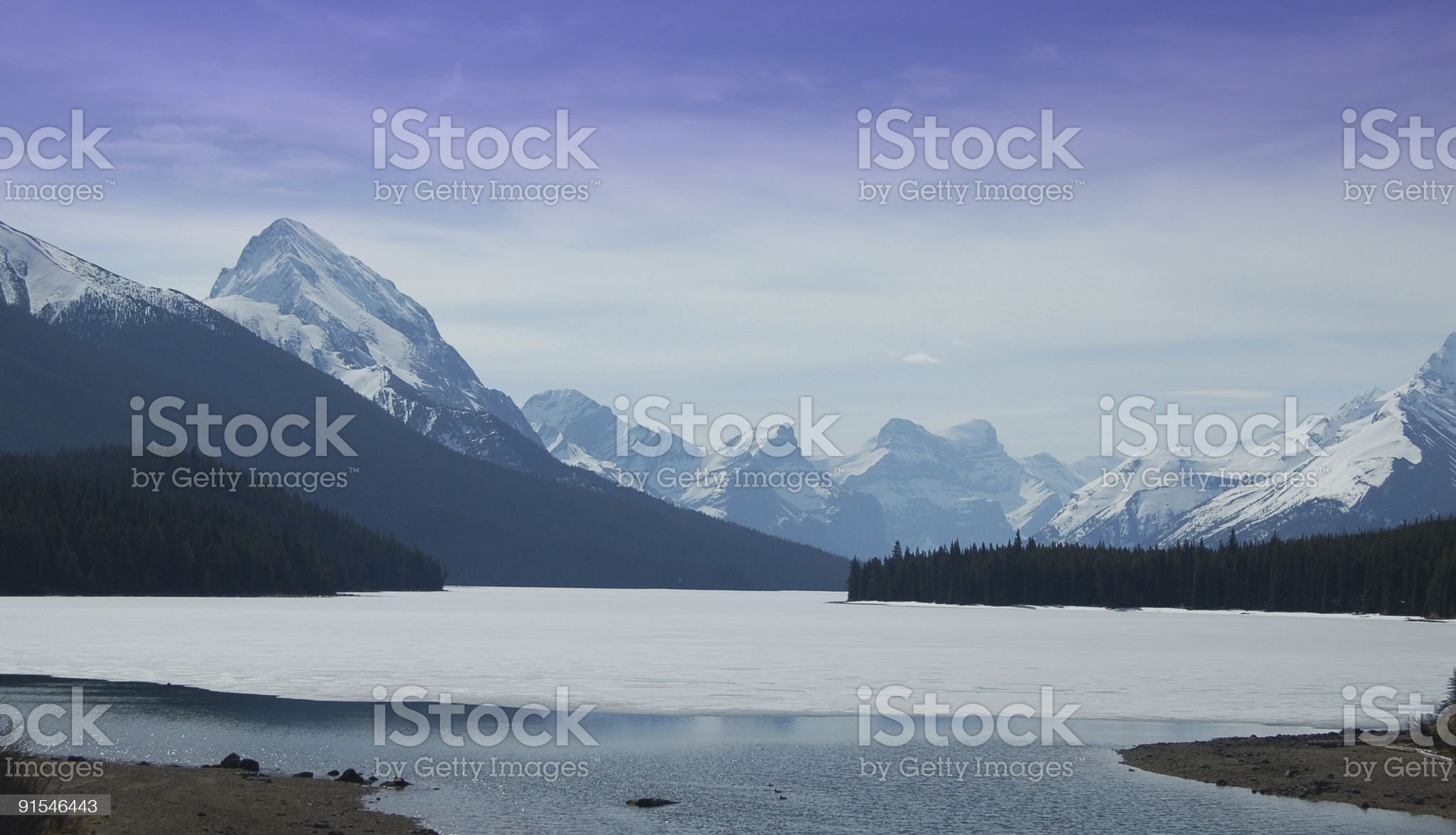 Dramatic View of a High Mountain Lake in Spring Thaw royalty-free stock photo