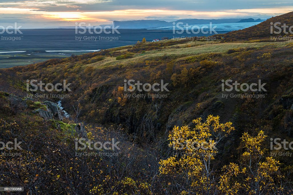 Dramatic view of green field hill with yellow plant foreground stock photo