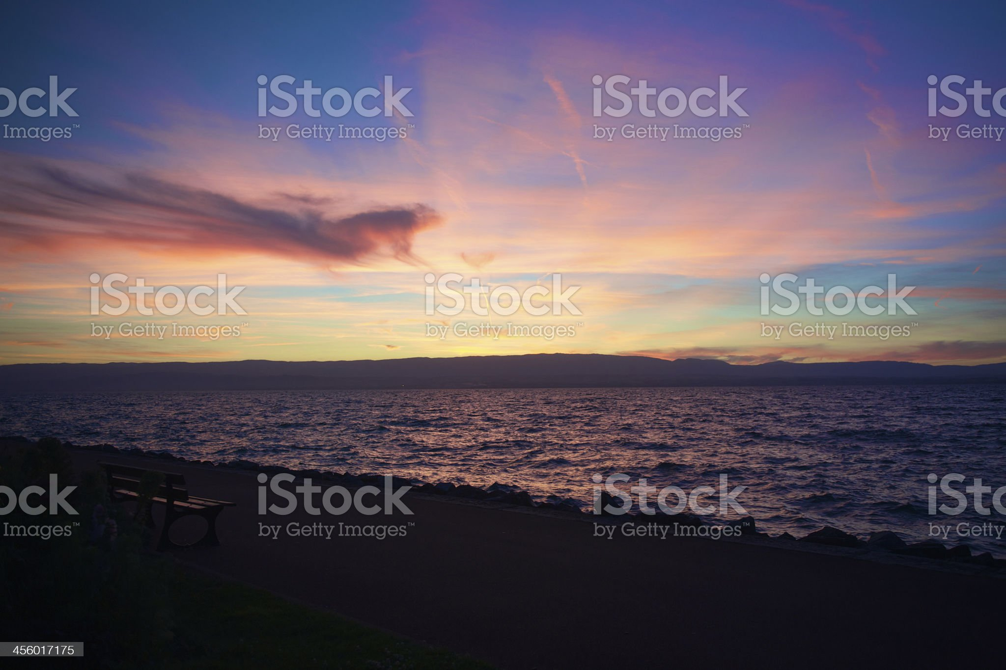 Dramatic View of Leman Lake in France royalty-free stock photo