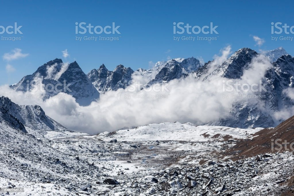 Dramatic view over Himalayan mountains, Nepal. stock photo