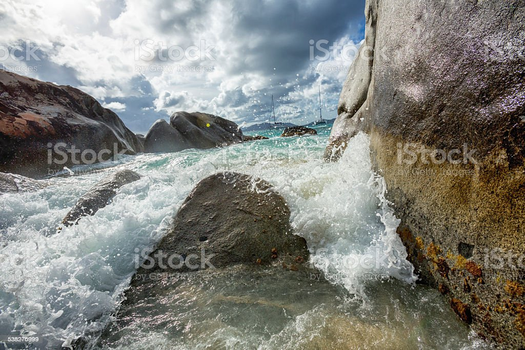 Dramatic Waves at The Baths stock photo