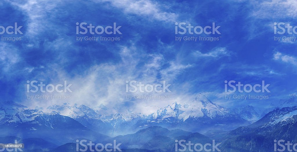 dramatic weather conditions in the austrian alps stock photo