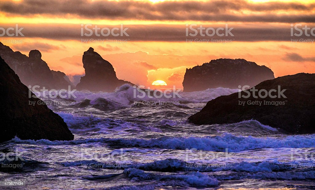 Dramatic Wild Surf at Sunset on Bandon Beach, Oregon stock photo