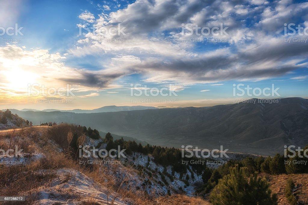 Dramatic winter sunset stock photo