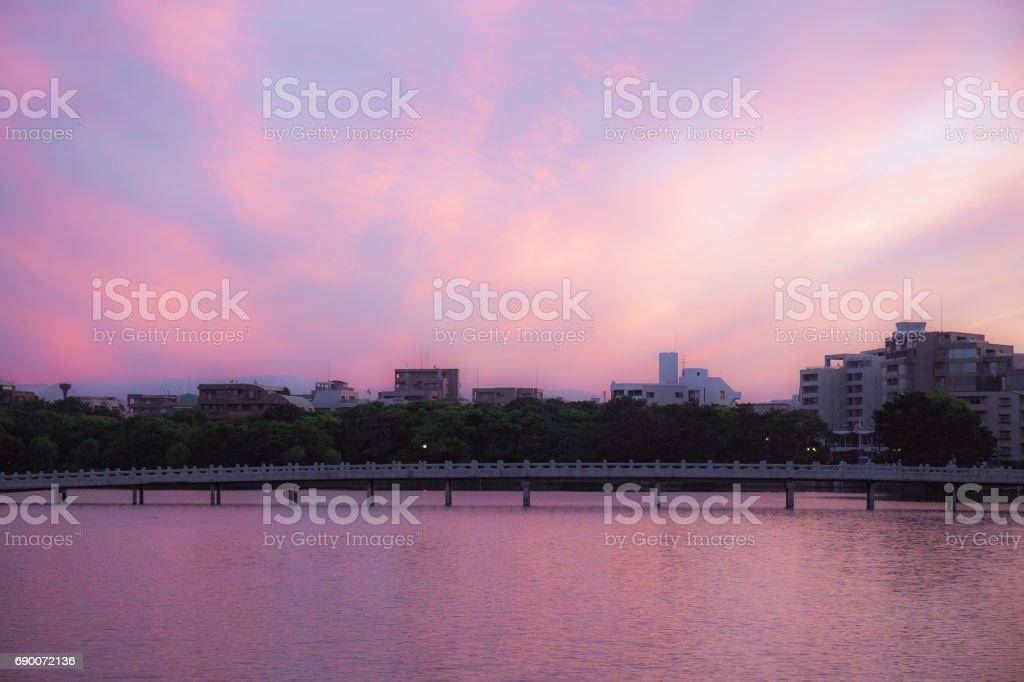 Dramatically beautiful sunset in pink gradation over lake stock photo