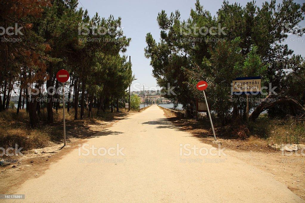 Drapano Bridge Argostoli stock photo