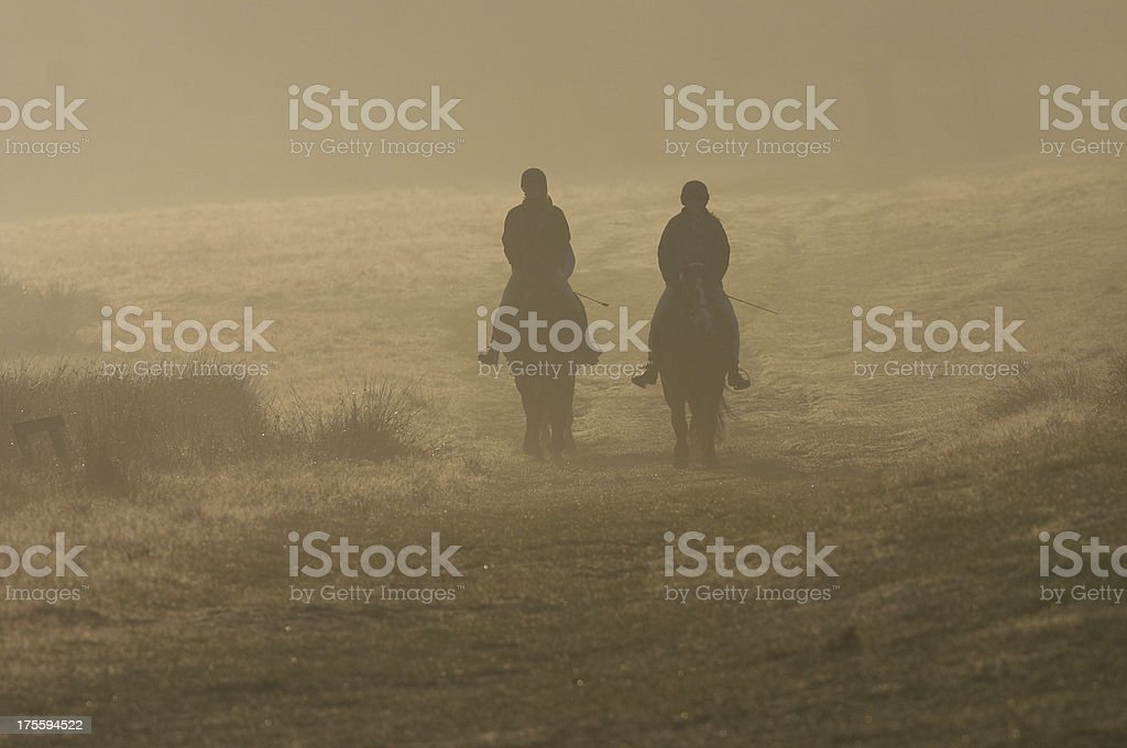 Two horse riders silhouetted in mist Richmond Park UK royalty-free stock photo