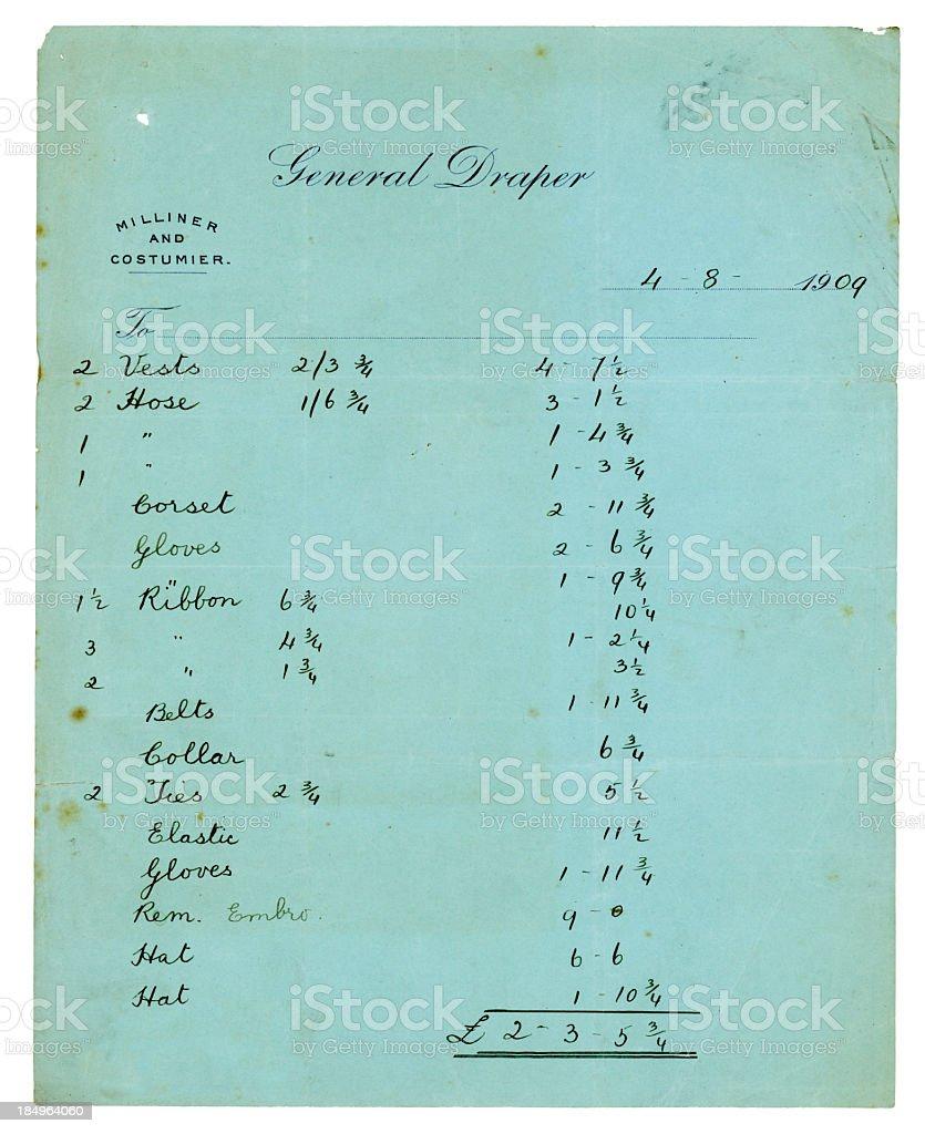Draper's bill, 1909 royalty-free stock photo