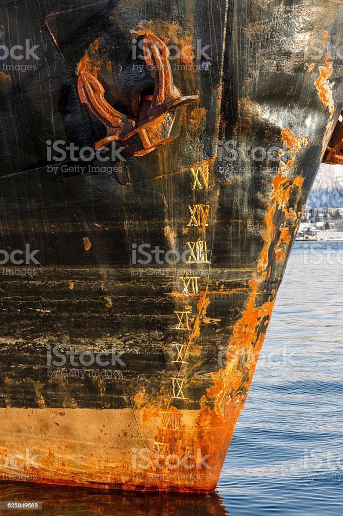 Draught marks and anchor stock photo