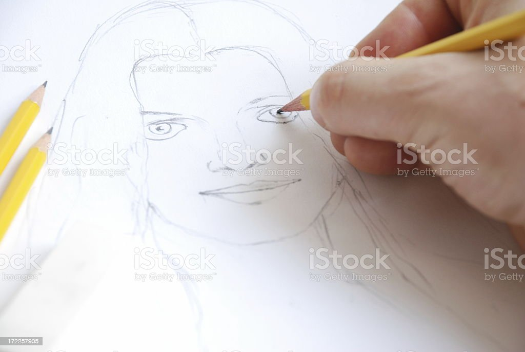 Draw a sketch royalty-free stock photo