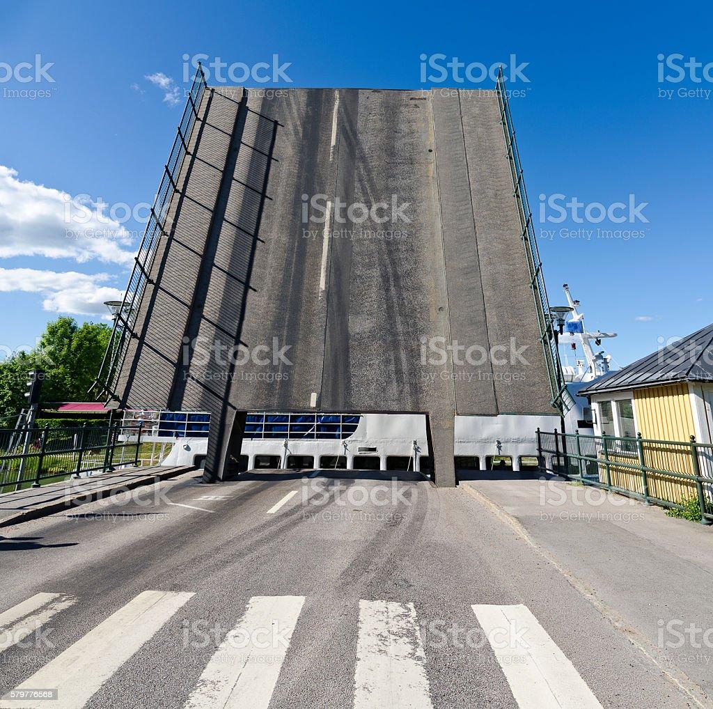 drawbridge across the Goeta channel stock photo