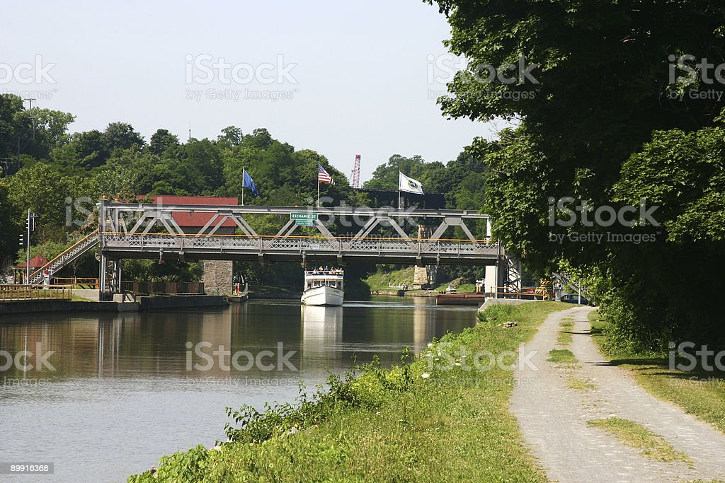 Drawbridge along the Erie Canal stock photo