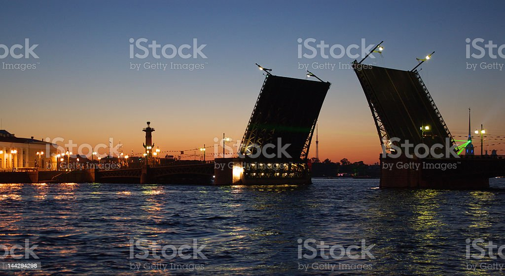 drawbridge in st. petersburg royalty-free stock photo