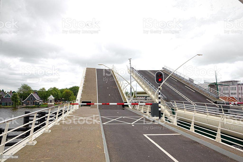 Drawbridge is opening in Zaandam, Netherlands stock photo