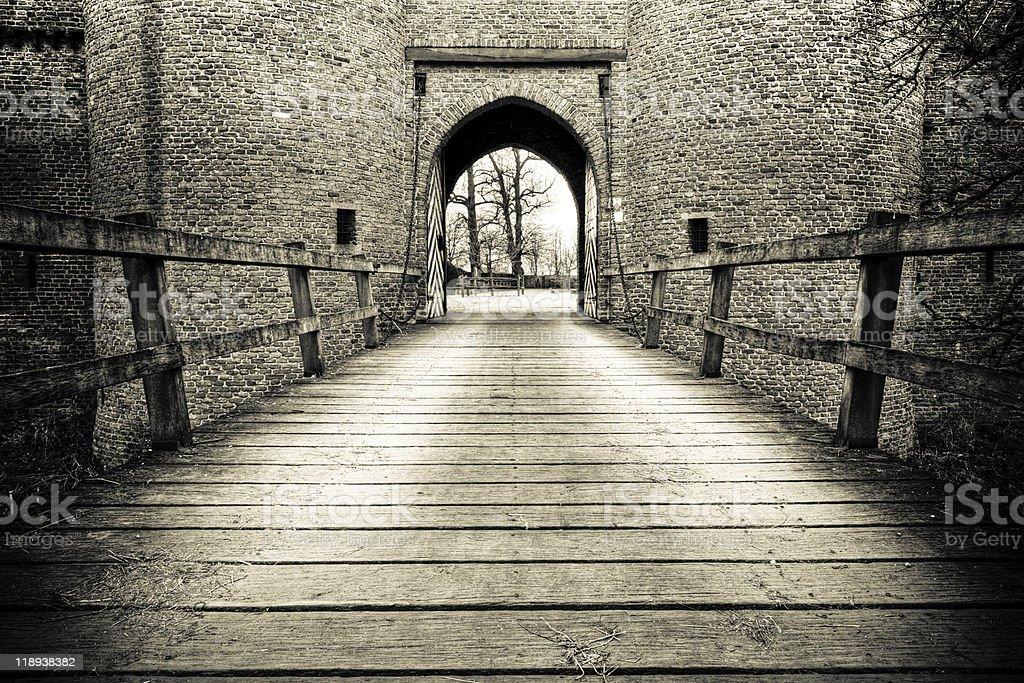 Drawbridge of Doornenburg Castle stock photo