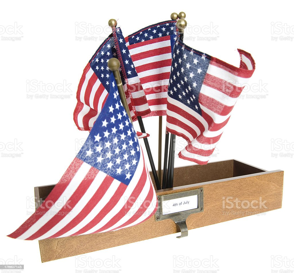 Drawer /Box with American Flags and 4th of July Label. stock photo
