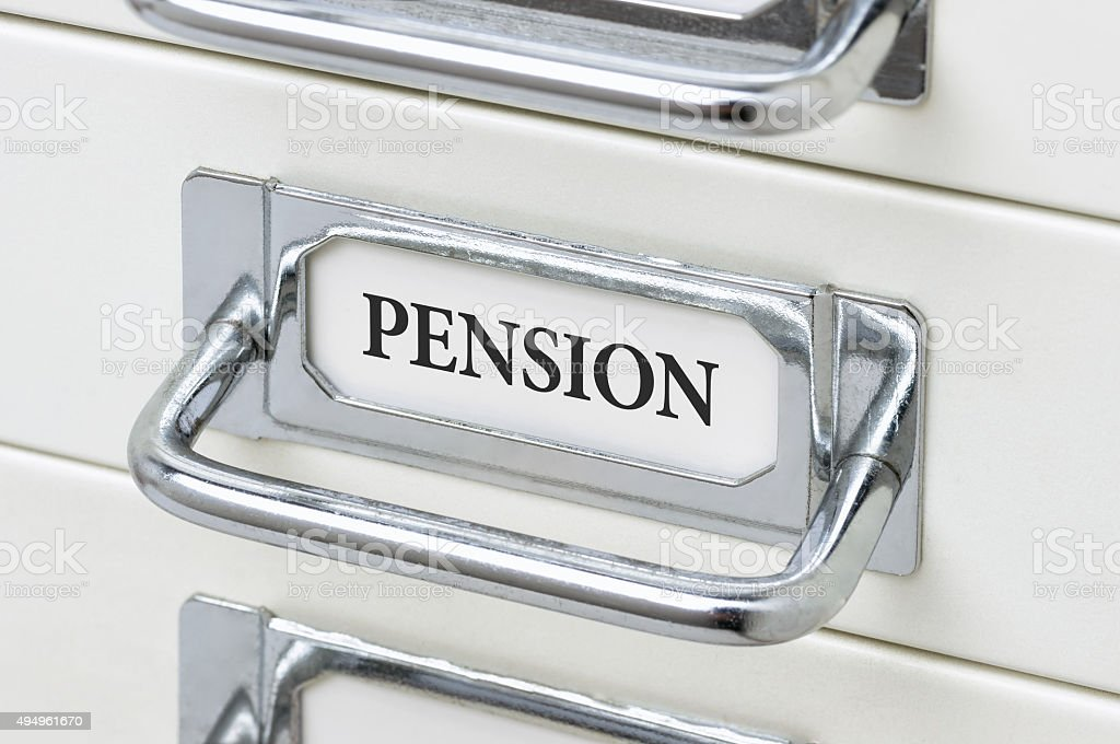 Drawer cabinet with the label Pension stock photo