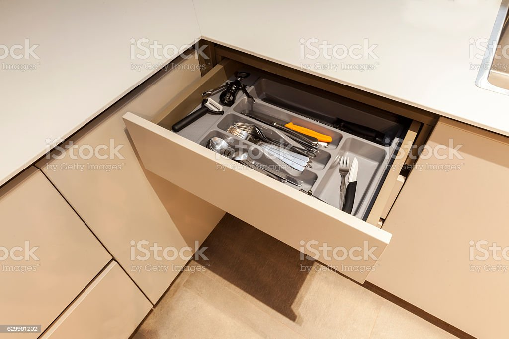 Drawer with cutlery stock photo