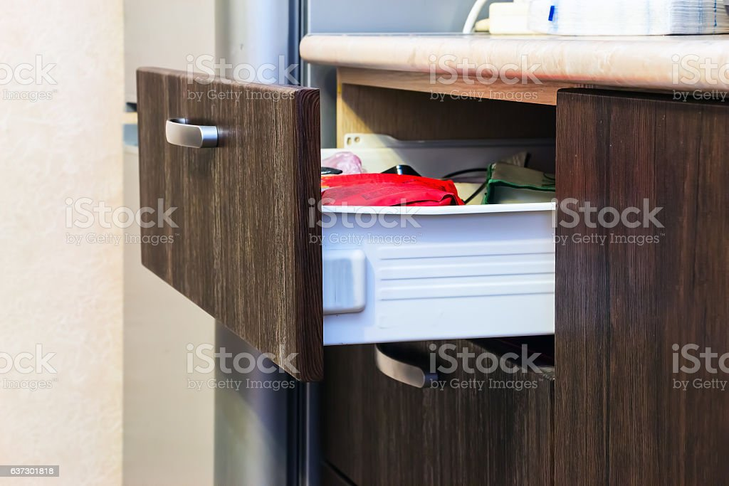 Drawer with in it different things stock photo