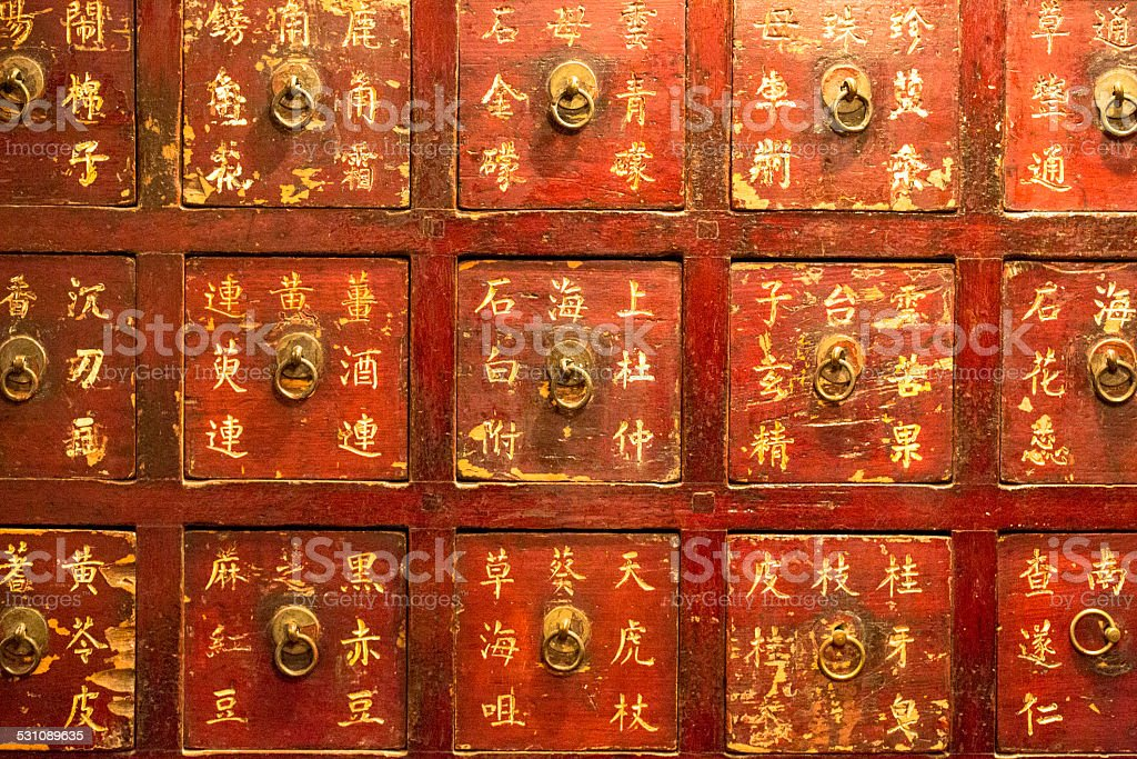 drawers for Chinese medicine in Pharmacy stock photo