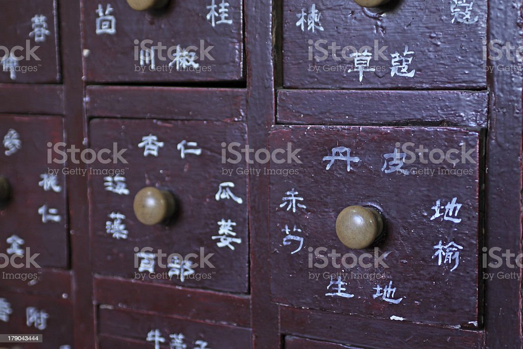 drawers full of chinese herbal medicine royalty-free stock photo