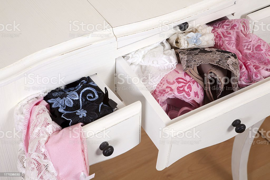 Drawers full of sexy lingerie stock photo