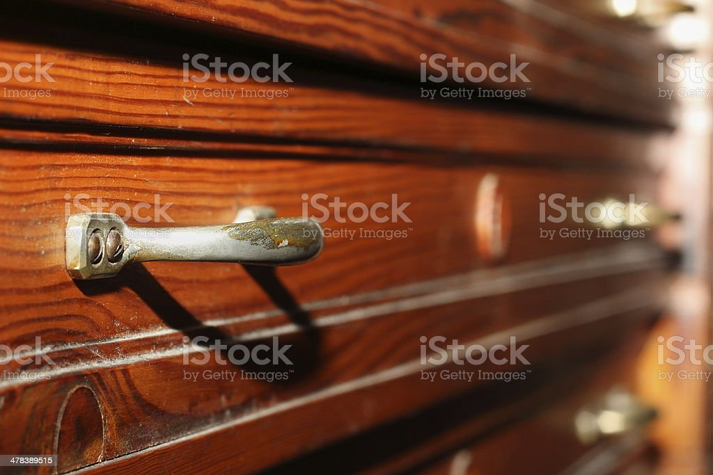 drawers on antique furniture stock photo
