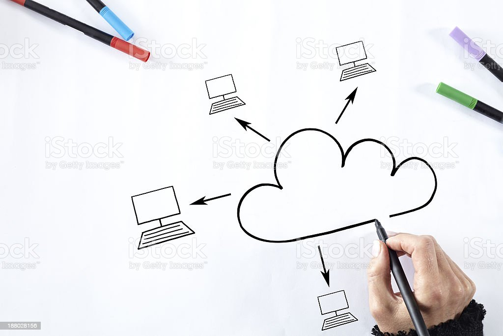 Drawing a cloud. royalty-free stock photo