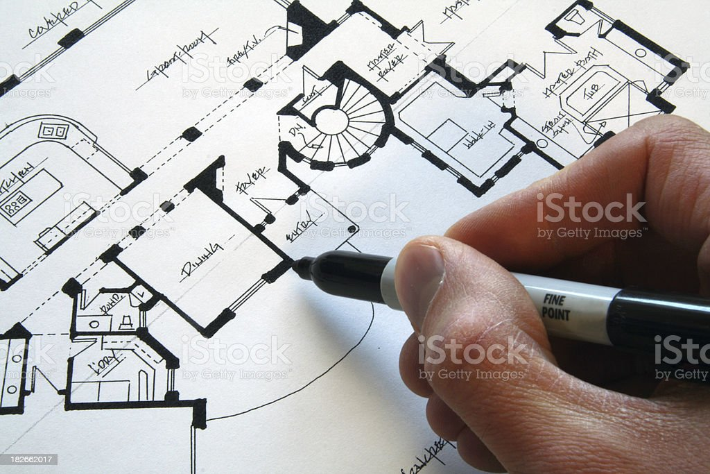 Drawing a Custom House stock photo