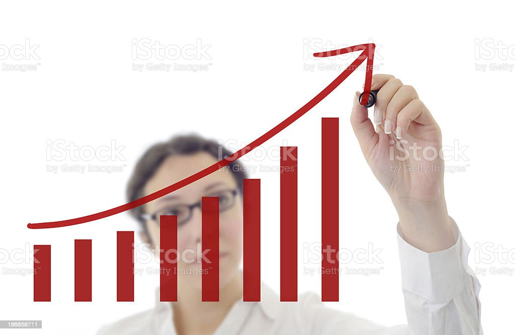 Drawing a growth chart royalty-free stock photo